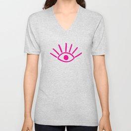 Pink Evil Eye Pattern Unisex V-Neck