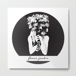Flower Junkie - Black and White Digital Drawing of Girl holding Flowers Metal Print
