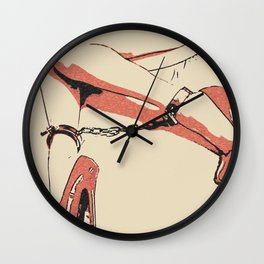 Good girl knows what to wear, sexy fetish chains, red heels, gold chain and cuffs, erotic artwork Wall Clock