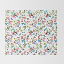 Budgies and Blooms Throw Blanket