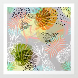 Abstract geometric and tropical elements Art Print
