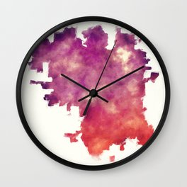 Lincoln Nebraska city watercolor map in front of a white background Wall Clock