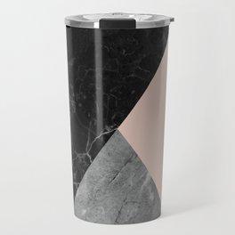 Black and White Marbles and Pantone Pale Dogwood Color Travel Mug
