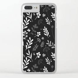 Floral Pattern - Black Background Clear iPhone Case