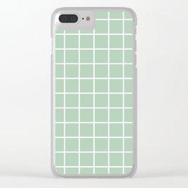 Minimalism Window Pane Grid, Sage Green Clear iPhone Case