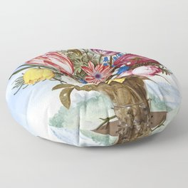 Bouquet of Flowers on a Ledge (1619) in high resolution by Ambrosius Bosschaert Floor Pillow