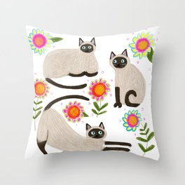 Siamese Cats and flowers Throw Pillow