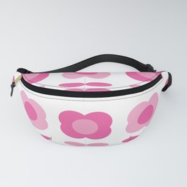 Pink Retro Flowers Fanny Pack