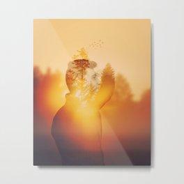 fir forest sunrise Metal Print