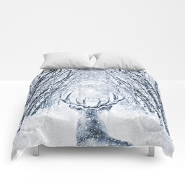Winter deer Comforters