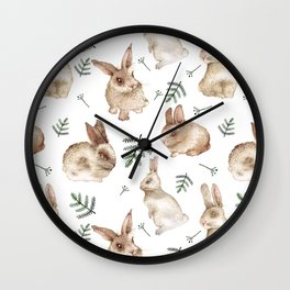 Bunnies and Leaves Wall Clock