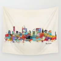 manchester Wall Tapestries featuring Manchester England skyline by bri.buckley
