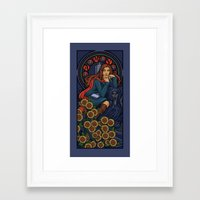 nouveau Framed Art Prints featuring Pond Nouveau by Karen Hallion Illustrations
