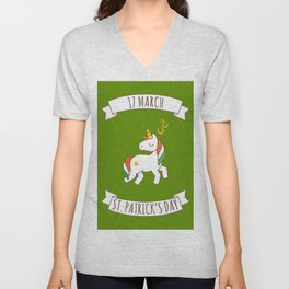St. Patrick's Day Unicorn 2 Unisex V-Neck