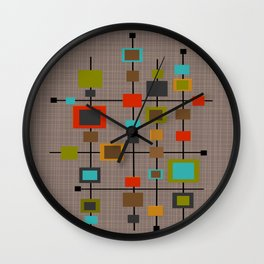 Mid-Century Modern Squares Pattern Wall Clock