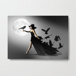 The woman with the ravens Metal Print
