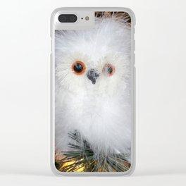 Cute fluffy Snow Owl Clear iPhone Case