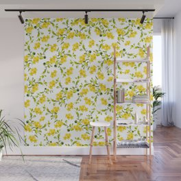 Yellow Flower Pattern #1 #spring #floral #decor #art #society6 Wall Mural