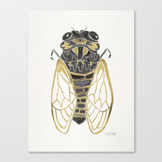 Cicada – Black & Gold Canvas Print