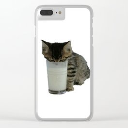 Cute Wild Kitten With A Glass Full of Optimism Clear iPhone Case