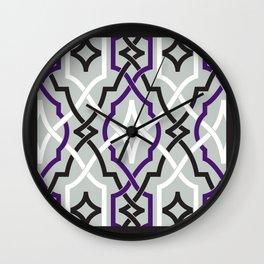 classic modern lattice in black, grey, white & grape Wall Clock