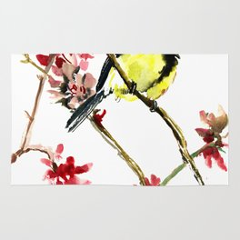Great Tit and Spring Blossom Rug