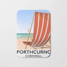 Porthcurno Cornwall vintage vacation poster. Bath Mat