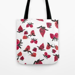 Watercolor Strawberries Tote Bag