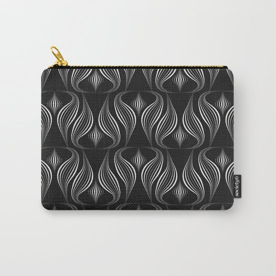 """Art Deco . Black and white pattern ."""" Waterfall """". Carry-All Pouch"""