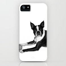 Fetch Boston Terrier B/W Slim Case iPhone (5, 5s)