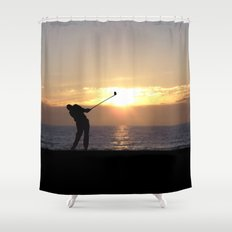 Playing Golf At Sunset Shower Curtain