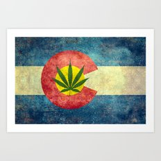 Retro Colorado State flag with the leaf - Marijuana leaf that is! Art Print