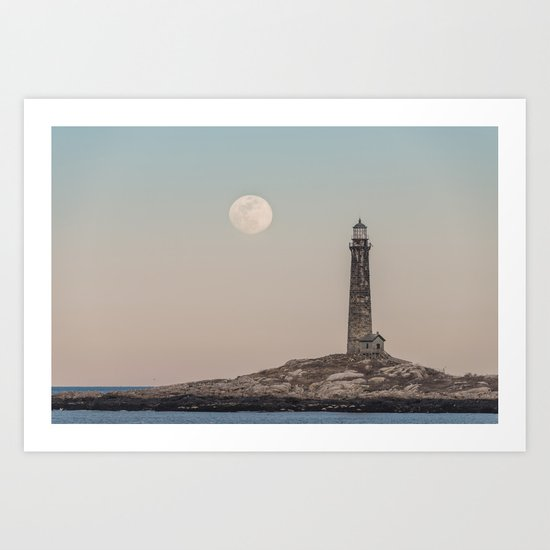 Pink moon rising over Thacher Island Art Print