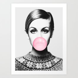 Twiggy, Bubble gum, Pink, Woman, Girl, Fashion, Face Art Print
