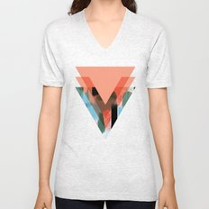 Three Triangles Geometric in Coral Unisex V-Neck