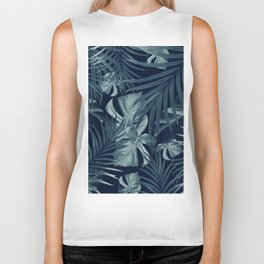 Tropical Jungle Night Leaves Pattern #3 #tropical #decor #art #society6 Biker Tank