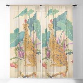 Cheetah and Apples Sheer Curtain