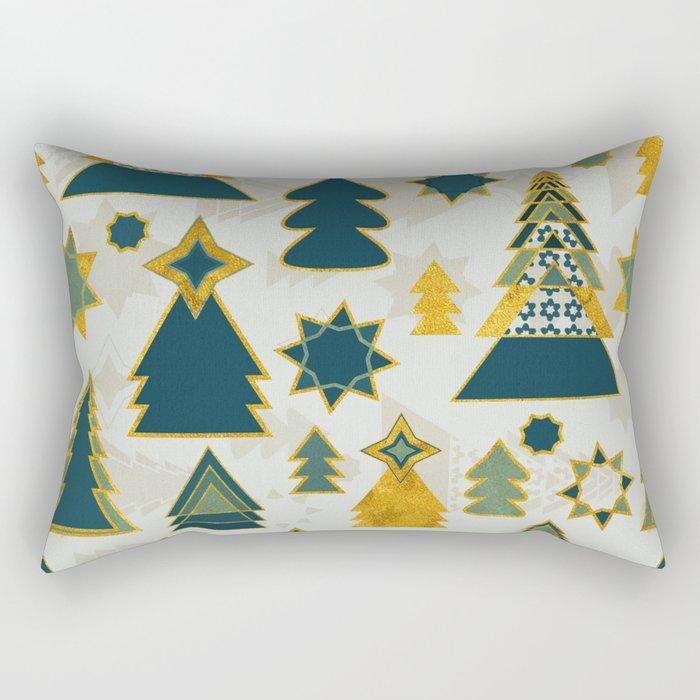 christmas trees gold Rectangular Pillow