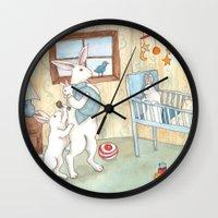 nursery Wall Clocks featuring Nursery by Bluedogrose