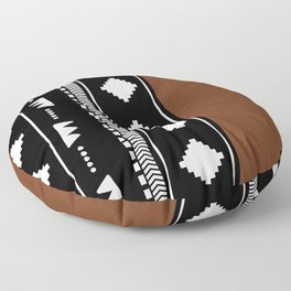 Southwestern Black with faux leather texture Floor Pillow