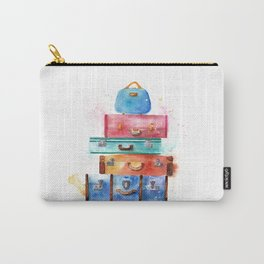 Watercolor Suitcases Illustration Art Carry-All Pouch