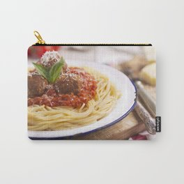 Spaghetti with meatballs and parmesan cheese on a rustic table Carry-All Pouch