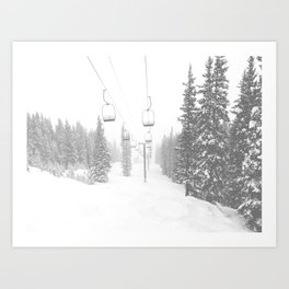 Empty Chairlift // Alone on the Mountain at Copper Whiteout Conditions Foggy Snowfall Art Print