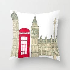 London red telephone box (cut out - red) Throw Pillow