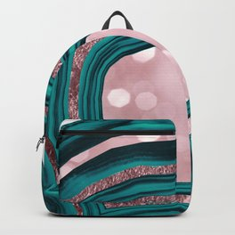 Agate Teal Rose Gold Blush #1 #abstract #shiny #decor #art #society6 Backpack