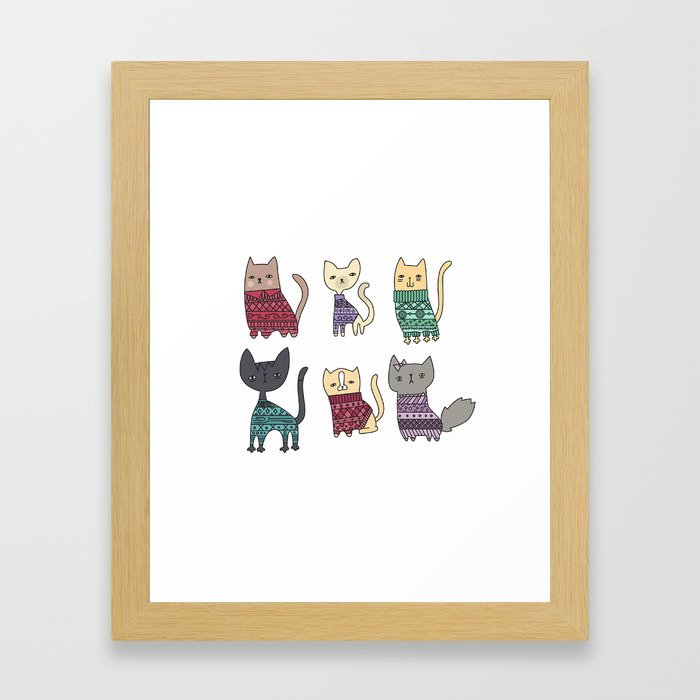 sweater cats Framed Art Print