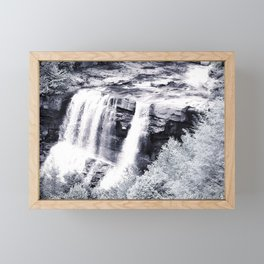 West Virginia Blackwater Falls Black and White Framed Mini Art Print