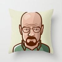 walter white Throw Pillows featuring Walter White by Sherif Adel