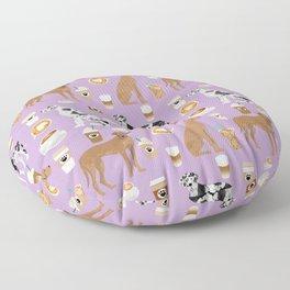 Great Dane coffee cafe dog breed pattern custom pet portrait Floor Pillow