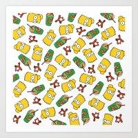 Bart Simpson Icons Art Print